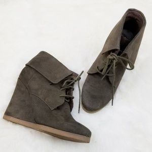 Mossimo|Brown Wedge Faux Suede Booties